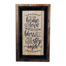 In Our Home Let Love Abide Framed Rustic Wood Sign 12x20