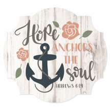 Hope Anchors The Soul Scalloped Wall Sign 12x13
