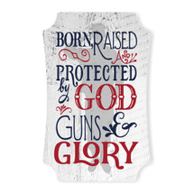 Born Raised And Protected Scalloped Wall Sign 8x12