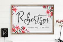 Personalized Printed Wood Family Name Sign With Established Date With Floral Design