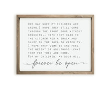 My Door Will Forever Be Open Framed Wood Farmhouse Wall Sign