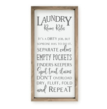 Laundry Room Rules Framed Wood Farmhouse Wall Sign