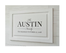 Personalized Family Name Sign Raised Panel Cabinet Door Sign 14x20