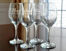 Personalized Wine Glasses Engraved Bridesmaid Wine Glasses (Sold Individually)
