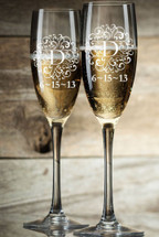 Personalized Champagne Toasting Flutes with Monogram (Set of Two)