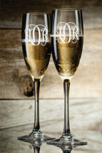 Personalized Engraved Champagne Toasting Glasses With Monogram (Set of 2)