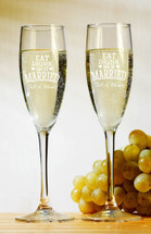 Personalized Champagne Toasting Flutes Eat Drink And Be Married (Set of Two)