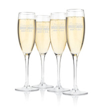 Personalized Champagne Glasses Bridesmaid Groomsman Toasting Flutes (Sold Individually)