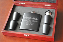 Personalized Black Matte Flask Set and Shot Glasses