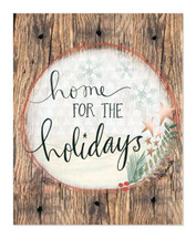 Home For The Holidays Rustic Wood Wall Sign 12x15
