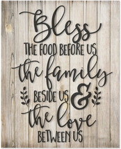 Bless The Food Before Us Rustic Wood Wall Sign 12x15