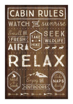 Cabin Rules Rustic Wood Sign 12x18