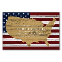 Declaration Map Flag Rustic Wood Sign 12x18