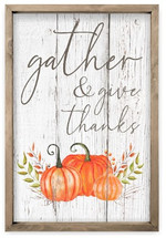 Gather And Give Thanks Framed Rustic Wood Farmhouse Wall Sign 12x18
