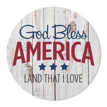 """God Bless America Round Wood Sign 16"""""""