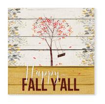 Happy Fall Y'all Rustic Wood Sign 16x16