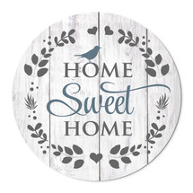 """Home Sweet Home Round Wood Wall Sign (Gray) 16"""""""
