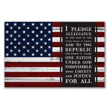I Pledge Allegiance Rustic Wood Sign 12x18