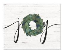 Joy Wreath Rustic Wood Wall Sign 12x15