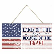 Land Of The Free Rustic Wooden Plank Sign 5x10