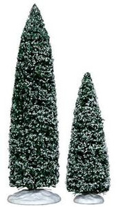 34664 - Snowy Juniper Tree, Large & Medium, Set of 2 - Lemax Christmas Village Trees