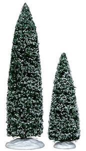 34664 - Snowy Juniper Tree, Large & Medium, Set of 2 - Lemax Christmas Village Trees
