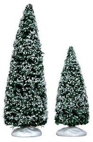 34665 - Snowy Juniper Tree, Medium & Small, Set of 2 - Lemax Christmas Village Trees