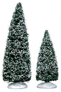 34665 - Snowy Juniper Tree, Medium & Small, Set of 2 - Lemax Christmas Village Trees