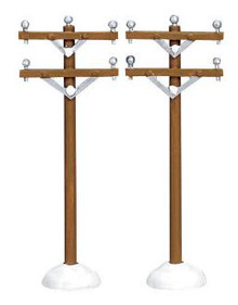 64461 -  Telephone Poles, Set of 2 - Lemax Christmas Village Misc. Accessories