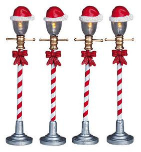64472 -  Santa Hat Street Lamp, Set of 4, Battery-Operated (4.5v) - Lemax Christmas Village Misc. Accessories