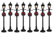 64500 -  Gas Lantern Street Lamp, Set of 8, Battery-Operated (4.5v) - Lemax Christmas Village Misc. Accessories