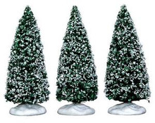 34666 - Snowy Juniper Tree, Small, Set of 3 - Lemax Christmas Village Trees