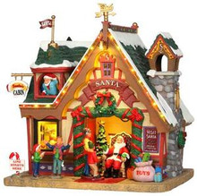 35554 - Santa's Cabin, with 4.5v Adaptor  - Lemax Vail Village Christmas Houses & Buildings