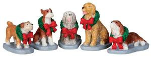 32138 - Christmas Pooch, Set of 5  - Lemax Christmas Village Figurines