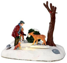 34629 - Feeding Deer, Battery-Operated (4.5v)  - Lemax Christmas Village Table Pieces