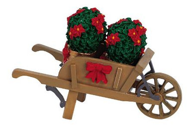 64479 -  Wheelbarrow with Poinsettias - Lemax Christmas Village Misc. Accessories