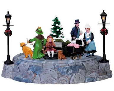 74692 -  Nanny Strolls in the Children's Park, Battery-Operated, 4.5v - Lemax Christmas Village Table Pieces