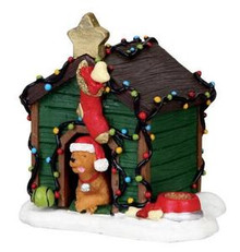 02808 - Decorated Light Doghouse -  Lemax Christmas Figurines