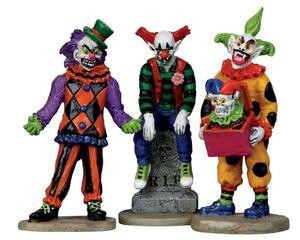 12885 - Evil Sinister Clowns, Set of 3 - Lemax Spooky Town Halloween Village Figurines