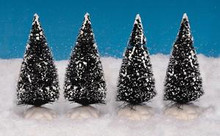 14005 - Bristle Tree, Set of 4, Mini - Lemax Christmas Village Trees