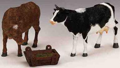 12512 -  Feeding Cow & Bull, Set of 3 - Lemax Christmas Village Figurines