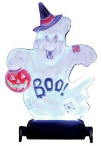 "14353 - Yard Light - ""Boo!"" Ghost, Battery-Operated (4.5v) - Lemax Spooky Town Halloween Village Accessories"