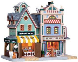 05093 - Village Fish / Ed's Butcher Shop - Lemax Plymouth Corners