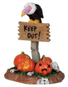 24475 - Keep Out!  - Lemax Spooky Town Halloween Village Accessories