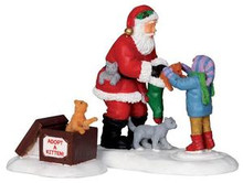 22045 - Santa and Kittens, Set of 2  - Lemax Christmas Village Figurines