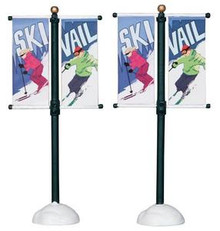 24496 - Street Pole Banner, Set of 2  - Lemax Christmas Village Misc. Accessories