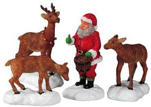 52146 -  Santa Feeds Reindeer, Set of 4 - Lemax Christmas Village Figurines