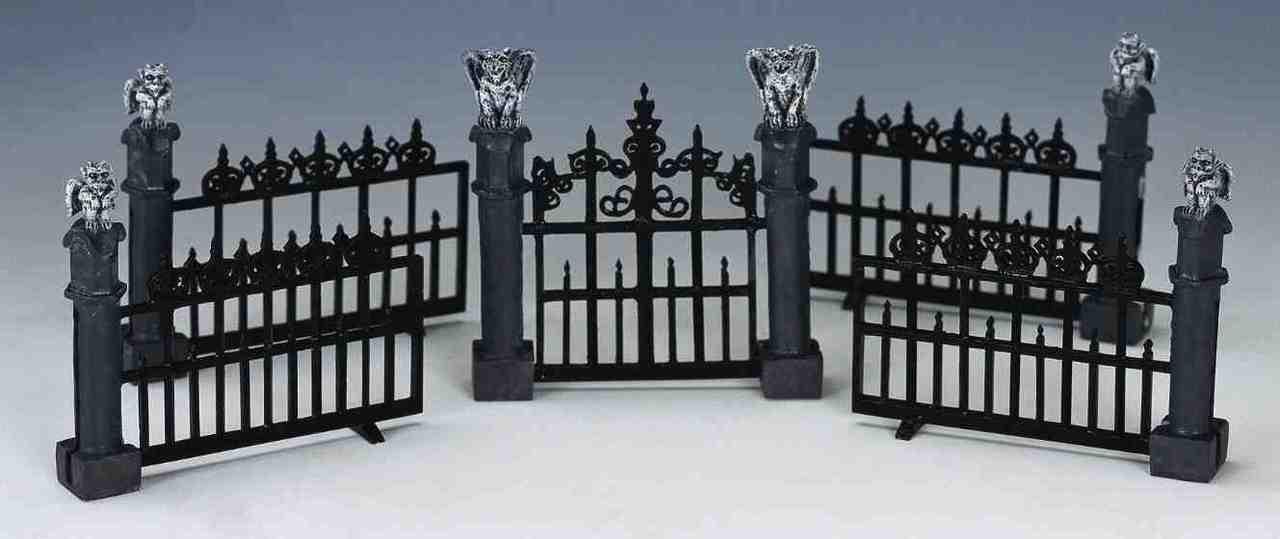 44139-Gargoyle Fence Spooky-Town Accessoires LEMAX set//5 Halloween