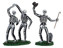 72377 - Dancing Skeletons, Set of 2 - Lemax Spooky Town Halloween Village Figurines