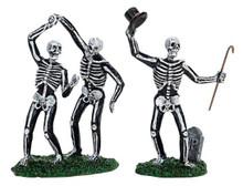 72377 - Dancing Skeletons, Set of 2 - Lemax Spooky Town Halloween Village Figurines